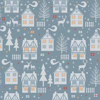 Christmas seamless pattern with cottages, houses, trees on blue background. Vector illustration.