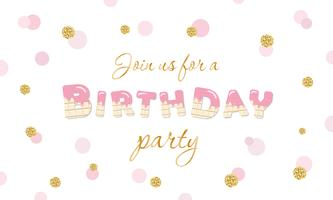 Birthday party invitation on polka dot festive background with glitter