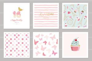 Verjaardagskaarten instellen voor tienermeisjes. Inclusief naadloze patronen in pastelroze. Sweet 16, vlinders, cupcake, stippen, Eiffeltoren, gestript.