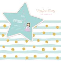 Cute template for notebook cover girls My first Diary