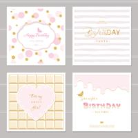 Cute cards design with glitter for girls. Birthday party invitation. Included polka dot, chocolate and striped seamless patterns.