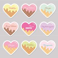 Adesivos de dia dos namorados. Corações de desenhos animados com texto de exemplo.