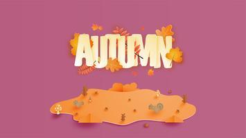 Calligraphie avec saison d'automne