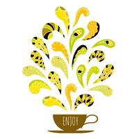 Cup of coffee with colorful aroma ornament. Hand drawn decorative elements.