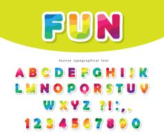 Modern colorful font with bright paper cutout ABC letters and numbers