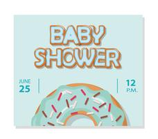 Baby shower card template for boys. Sweet donut.