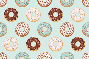 Seamless pattern with glazed donuts blue and beige colors