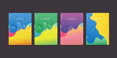 Modern colorful wave liquid flow posters vector