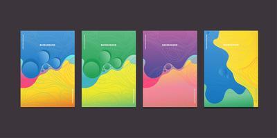 Carteles modernos de flujo líquido de onda colorida