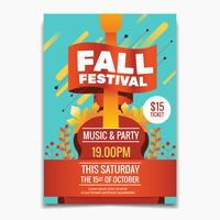 Fall Festival flyer or poster template. Autumn Maple leaves and guitar background