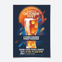 Flyer fiesta geométrica Oktoberfest vector