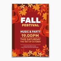 Fall Festival flyer or poster template. Design for Invitation or Autumn Holiday Celebration Poster
