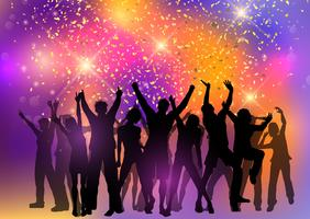 Party crowd on an abstract background with confetti