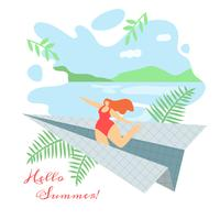 Hello Summer Greeting Card  vector