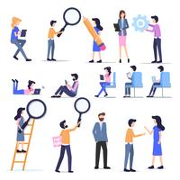 Conjunto de caracteres de pessoas de negócios freelance