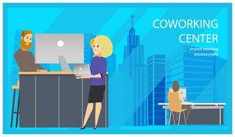 Coworking Reception Man Inviting Woman Banner