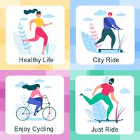 Set of Healthy Lifestyle Outdoors Activities