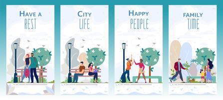 Conjunto de folletos de zonas recreativas