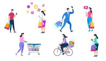 Set di persone dello shopping