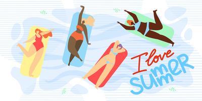 I Love Summer Banner vector