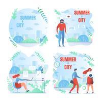 Uppsättning av sommaren och staden affischer