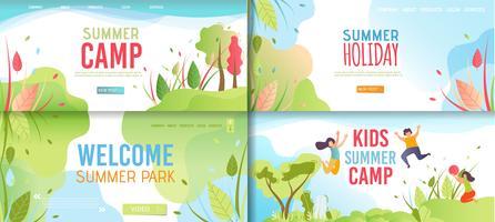 Conjunto de banners de campamento de verano para niños vector