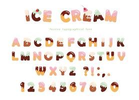 Ice cream font with cute wafer letters and numbers