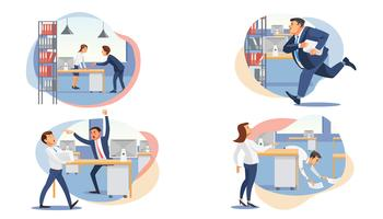 Set of stressed business people vector