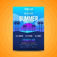 Summer Sunset  party poster vector