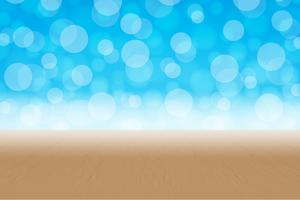 Bokeh circle blue background gradation with wood floor vector