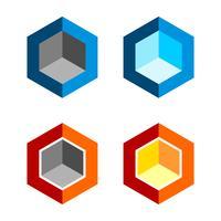 Set di logo colorato esagono camera