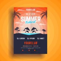 Summer Ocean party poster vector