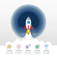 Rocket infographic design business concept with 5 options, parts or processes. vector