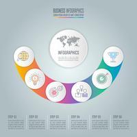 Concept d'entreprise de conception d'infographie courbe avec 6 options, pièces ou processus.