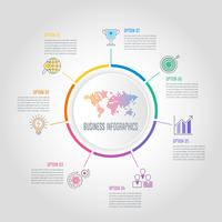 World circular infographic design business concept with 7 options, parts or processes.