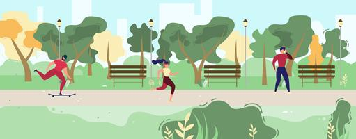 People Exercising in City Park  vector