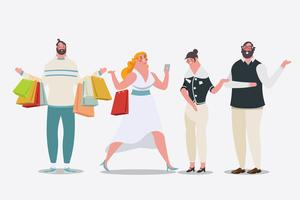 Mujeres comprando y hombres cargando bolsas de compras.