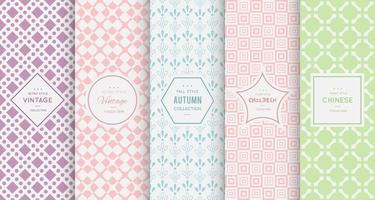 Pastel retro different  seamless patterns