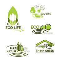 Vida eco acho que conjunto de ícones verdes