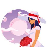 mujer con ramo de flores romantico
