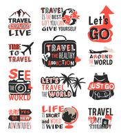 Travel motivation icon set