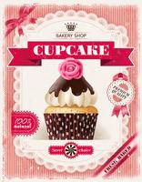Pink Bakery poster with cupcakes