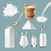 Ensemble de produits laitiers, éclaboussures.