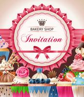 Bakery poster with cupcakes