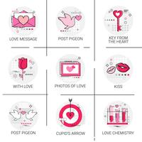 Valentine Day Gift Card Holiday Love Icon Stamp Set