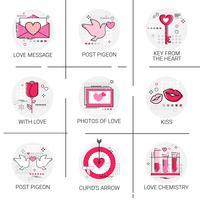 Jeu de timbres icône amour de la Saint-Valentin