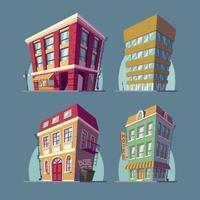 Uppsättning av isometriska ikoner byggnader i tecknad stil