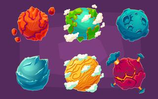 Set of fantasy alien planets