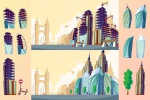 Set van een stedelijk landschap met grote moderne gebouwen.