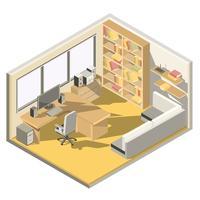 Conception isométrique d'un bureau à domicile